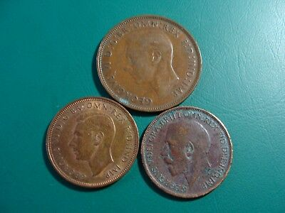 Old Great Britain 3 Coins One Penny 1947 1/2 Penny 1919 1944 Lot K