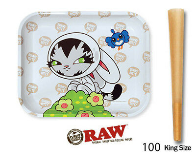 100 count RAW pre rolled Cones King Size +Large Raw Bunny Tray