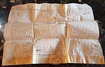 1688 MANUSCRIPT VELLUM DEED INDENTURE w/ SEAL TAG. Very Old Handwritten Document