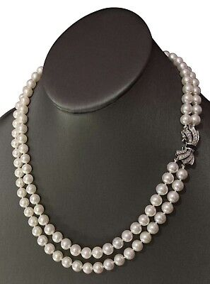 "CERTIFIED $8,000 Akoya Pearl Sapphire Diamond 7.5Mm 19.5"" 14Kt Necklace 821045"