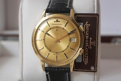 Solid 18K Gold Jumbo Memovox Automatic 855—Mint Dial—Jaeger Lecoultre Signature!