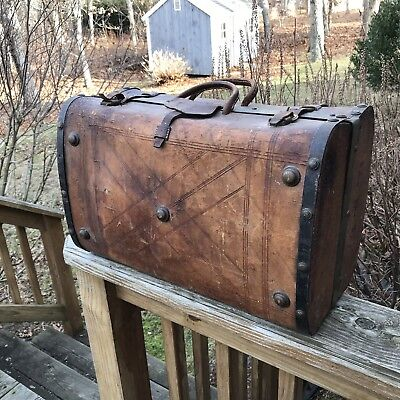 Antique 1860's Civil War Era Leather Suitcase Luggage Trunk Brass Accents