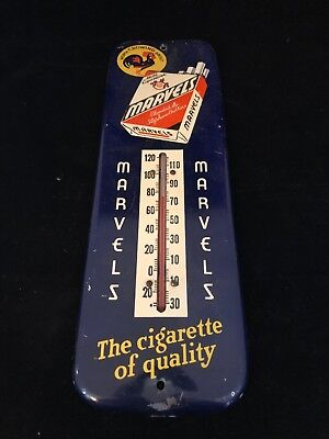 """VINTAGE ANTIQUE MARVELS CIGARETTES 12"""" ADVERTISING METAL THERMOMETER _ Tobacco"""
