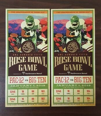 Rose Bowl Game: January 1, 2019: Ohio State vs Washington: 2 Tickets, 50YD LINE