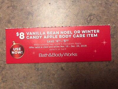 Bath And Body Works Coupon $8 Vanilla Bean Noel And $5 Off $20 Etc