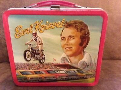 Vintage 1974 Metal Evel Knievel Lunch Box  No Thermos  Motorcycle
