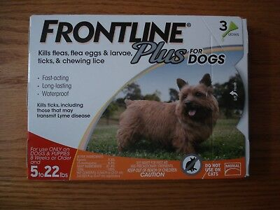 Frontline Plus Flea Lice Tick Remedy for Dogs 5-22 lbs 3 Month Dose NIB