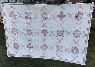 "Vintage Hand Stitched Quilt with Embroidered Cross Stitch 80""x 56"" Cotton GREAT!"