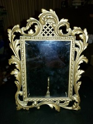Antique Vicrorian Ornate Brass Over Cast Iron Picture Frame Free Standing estate