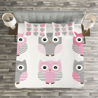 Pink and Grey Quilted Bedspread & Pillow Shams Set, Cute Owl Animals Print