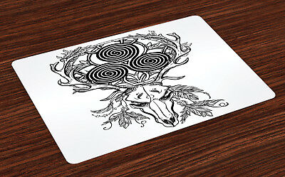 Celtic Placemats Set of 4 Deer Skull Feather Boho Print Fabric Table Mats