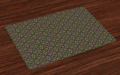 Celtic Placemats Set of 4 Floral Vintage Ethnic Print Fabric Table Mats