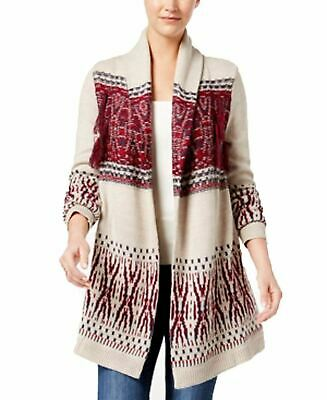 Style Co Patterned Fringe Cardigan Hammock Heather Combo XL