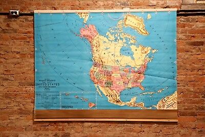 Vintage Pull Down World Political Map School house Industrial Design US Fold Up