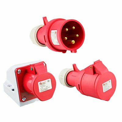 Red 415V 32 Amp 5 Pin Industrial Plug Or Sockets Ip44 3 Phase 3P+N+E Ui