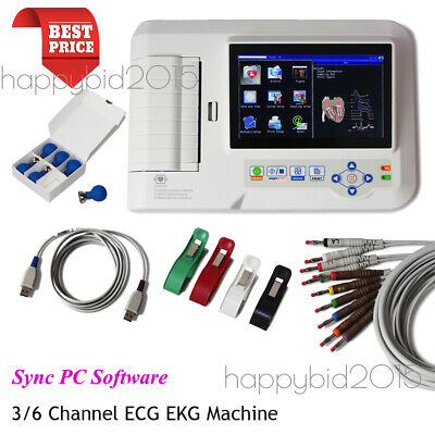 ECG600G 6-Channel 12-lead ECG/EKG Machine Touch Electrocardiograph,Printer
