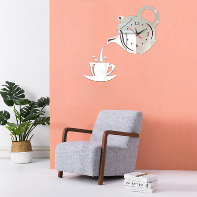 Dining Room 3D DIY Hanging Coffee Cup Wall Sticker Teapot Mirror Clock Decal