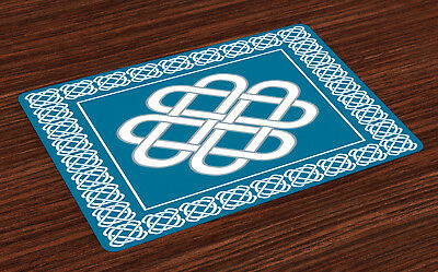 Irish Placemats Set of 4 Celtic Love Knot Symbol Print Fabric Table Mats