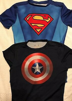 Under Armour Superman & Captain America Heat Gear shirts  YOUTH Large