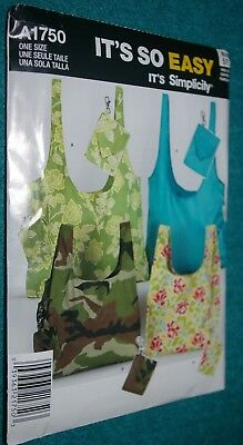 UNCUT FACTORY FOLDED Simplicity Pattern A1750 Tote Bags, Shopping Bags
