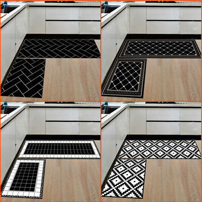 2PCS Home Kitchen Floor Mat Non Slip Runner Anti Fatigue Rug Set Door Decoration