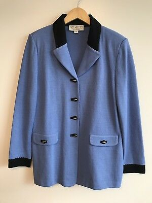 St John By Marie Gray Long Blue Jacket Knit Size 12 Elaborate Buttons
