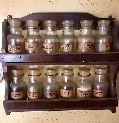 Vintage Spice Rack-Wooden Rack With 12 Labeled Glass Spice Bottles
