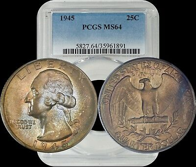 1945 Washington Quarter PCGS MS64 Bronze Toned
