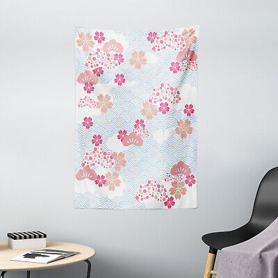 Japanese Tapestry Squama Cherry Blossom Print Wall Hanging Decor