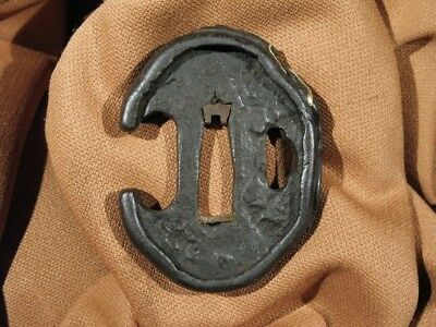 SUPERB 18th C. MITO RAIN DRAGON AMIDASHI TANTO TSUBA - Japanese Samurai Sword