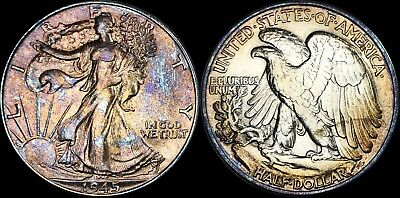 1945 Walking Liberty Silver Half Dollar Bu Ms Violet/bronze Toned!