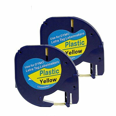 2PK 91332 91202 Compatibel for DYMO Plastic LetraTag Label Tape Black on Yellow