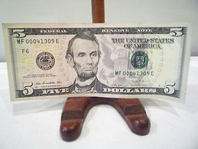 5 Digit Low Number $5 Dollar Bill 00041309 Us Money Currency Collector Note