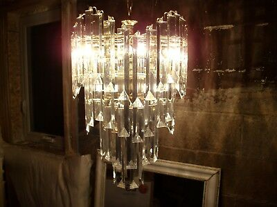 Brass Chandelier with beveled acrylic shades  10 bulb