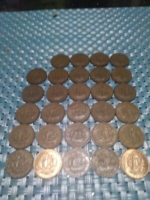 Vintage Great Britain Coin Lot - 29 OLDER Half Pennies - 1949-1967