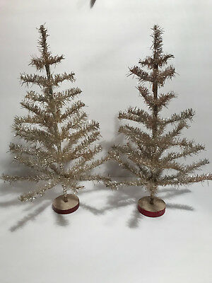 """2 Vintage Christmas 16"""" Feather Tree Gold Foil Tinsel Wood Base ITALY"""