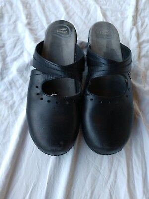 Dansko Shoes 43 Black Leather Mules Clogs 12 13 Women's