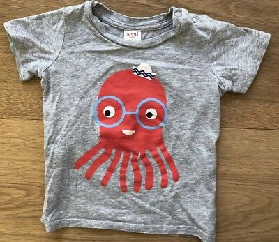 Seed Baby Boys Cotton Octopus Short Sleeve T-Shirt Size 12-18 Months