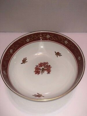 GoldImari Porcelain Bowl Hand Painted Red Bird Floral Gold Trim Chinese Japanese