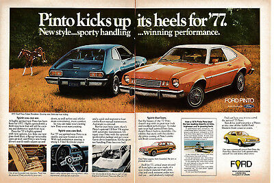 1977 Ford Pinto-New Style-2.8 Liter V-6- Original 2 Page Magazine Ad-Rallye Pack