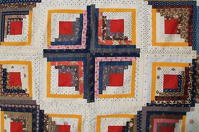 "Antique ""Log Cabin"" Patchwork Quilt Top Americana APPRAISED Cotton Vtg Atq VG"