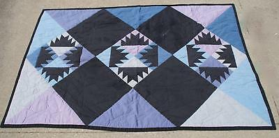 "Vintage ""Bear Claw"" Paw Pattern Quilt Patchwork Throw Midcentury Blues Charming"