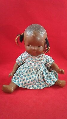 1920's 30's antique African American composition jointed baby doll old vintage