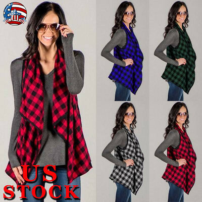 USA Womens Sleeveless Cardigan Open Front Plaid Check Casual Vest Coat Waistcoat