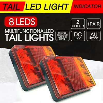 2PCs Waterproof 8 LED Tail Lights Rear Lamps Pair Boat Trailer 12V For Truck AU