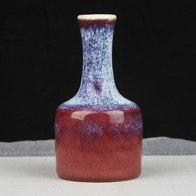 Wonderful Rare Unique Chinese Vintage Red And Blue Porcelain Vase Ge Kiln FA164