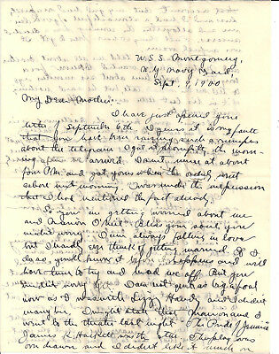 A Nice Vintage Spanish-American War Naval Letter – Uss Montgomery -1900