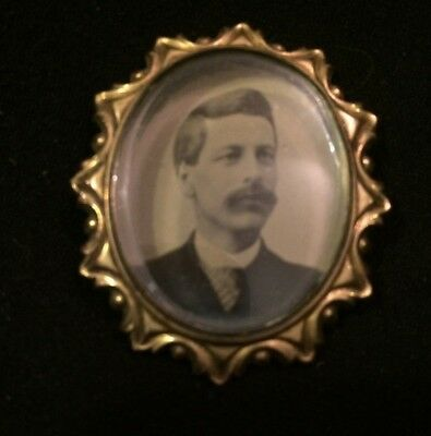 Vintage/Antique Victorian Era Mourning Brooch Photo Pin, Man With Large Mustache