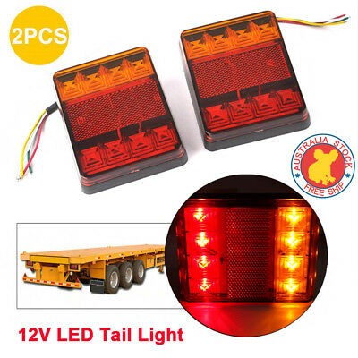 Led Trailer Lights Trailer Truck Caravan 8Led Pair Tail Lights Submersible Au