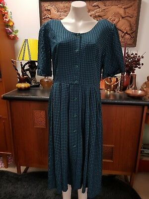 1980s Size 14 Vintage Dress In Green And Navy Check